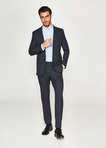 Solid colour, regular-fit suit in viscose