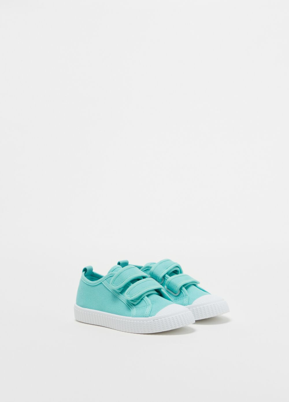 Solid colour cotton sneakers