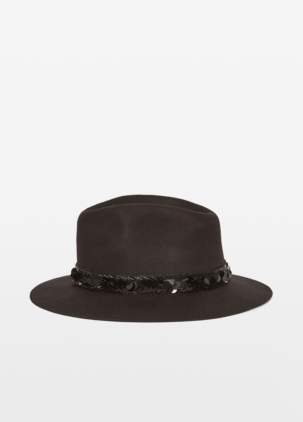 Wide-brimmed felt hat with sequins