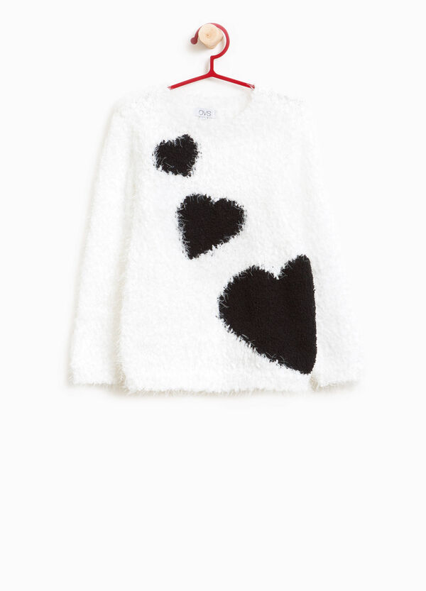 Frayed knitted pullover with hearts | OVS