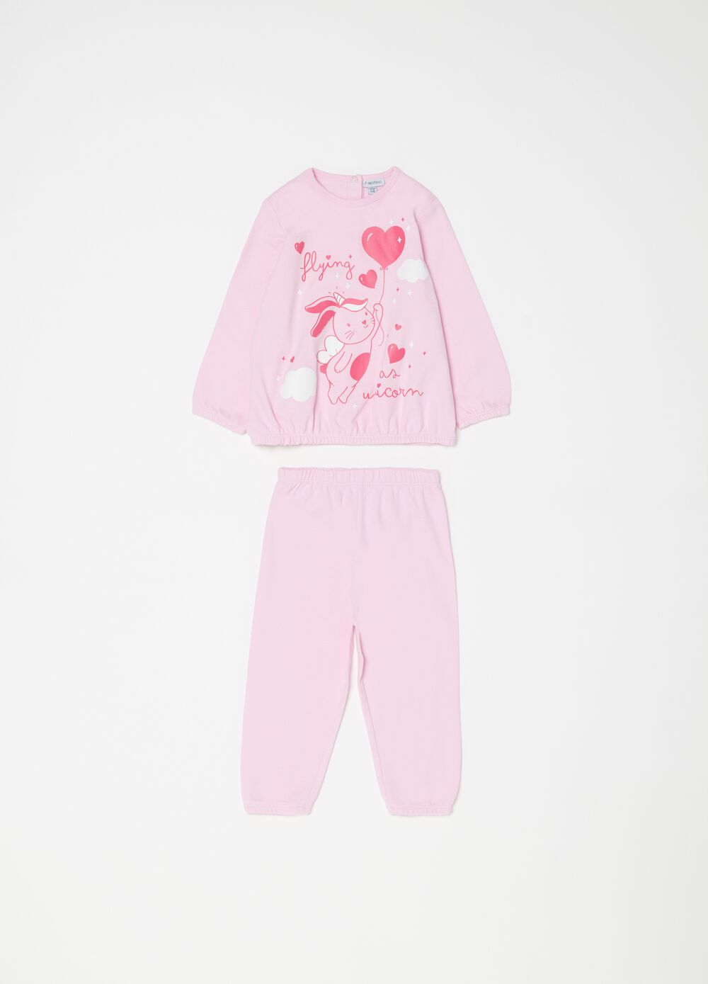 Pyjama top and trousers with rabbit print