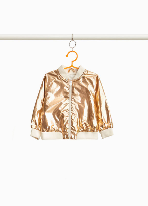 Glossy crew neck bomber jacket with zip