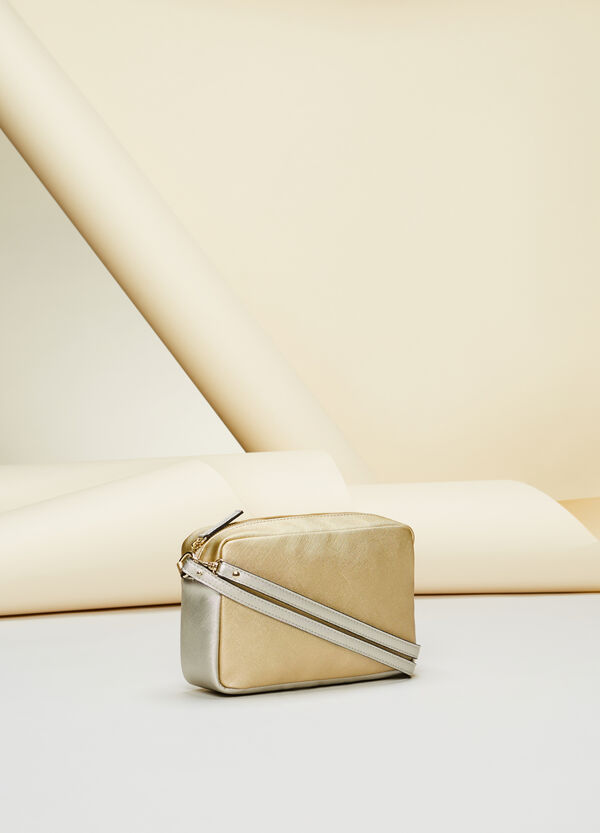 Two-tone saffiano-effect shoulder bag
