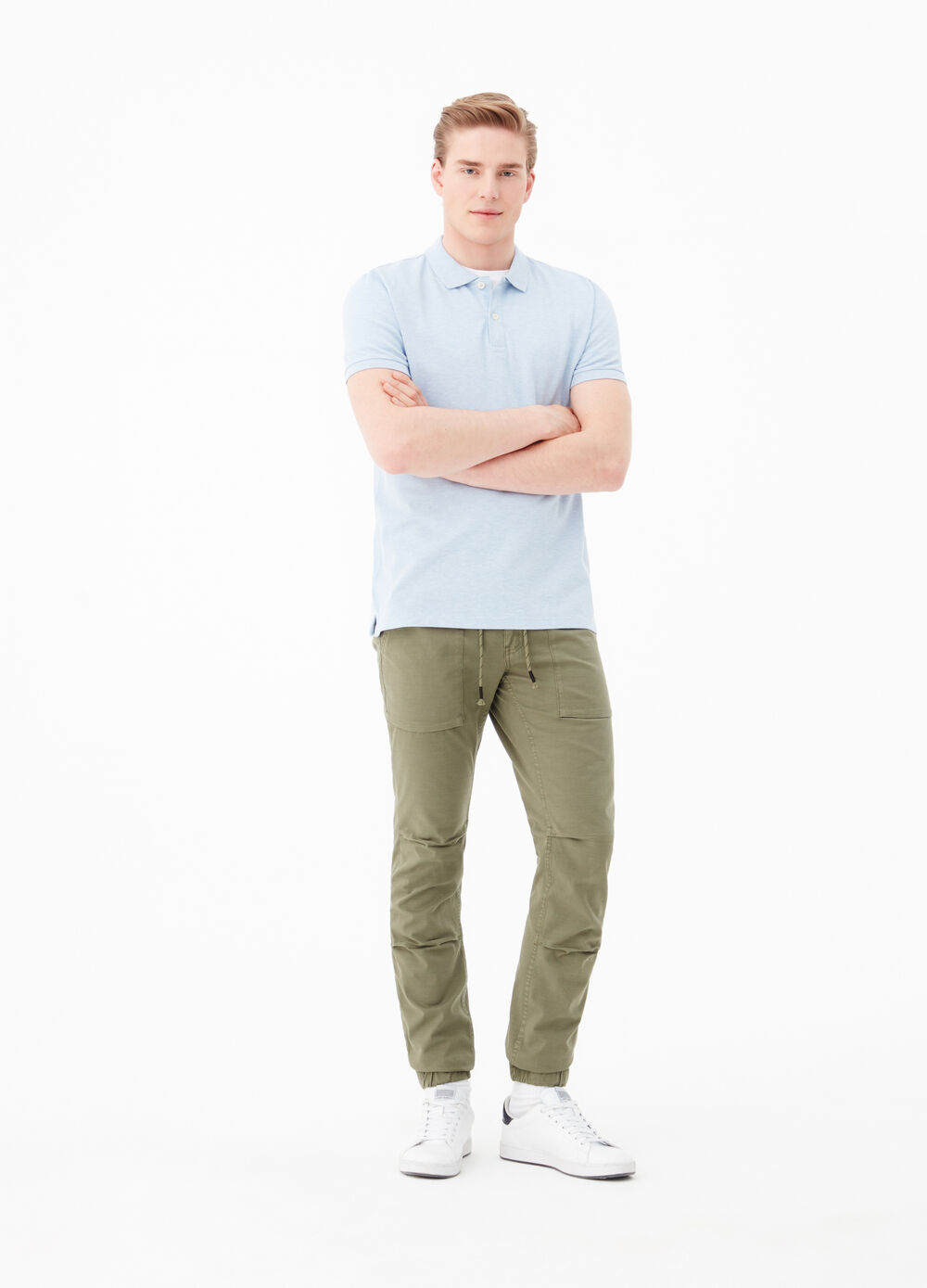 Slim-fit stretch jeans with drawstring