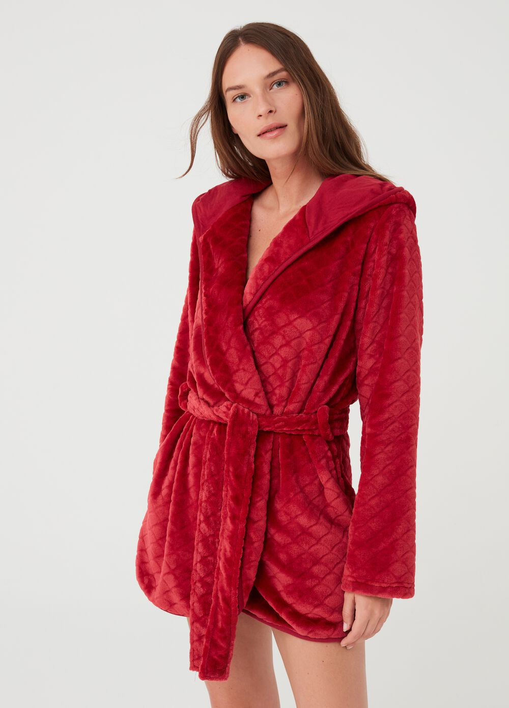 Chenille dressing gown with hood