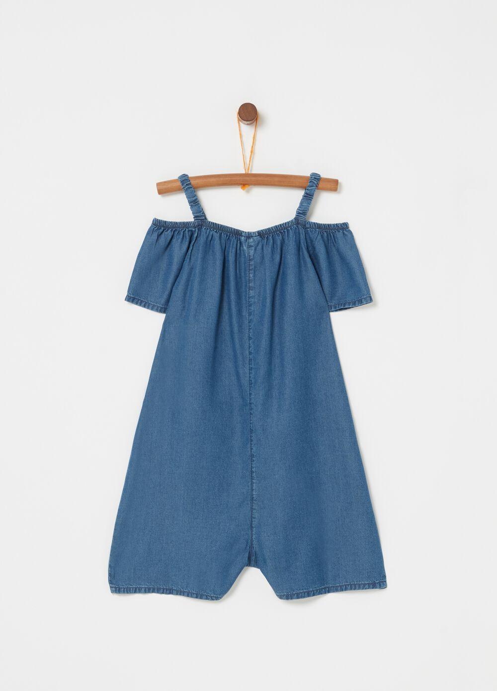 100% lyocell denim-effect playsuit