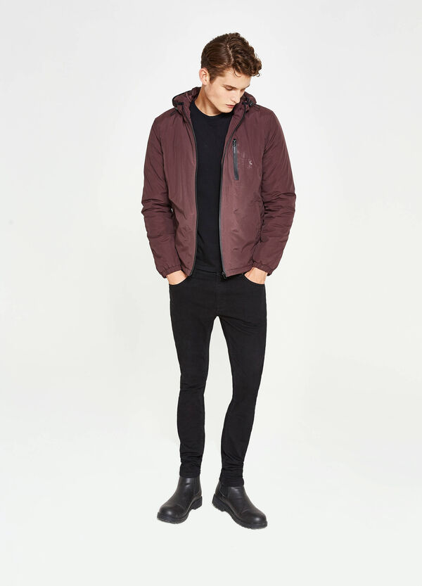 Solid colour jacket with hood