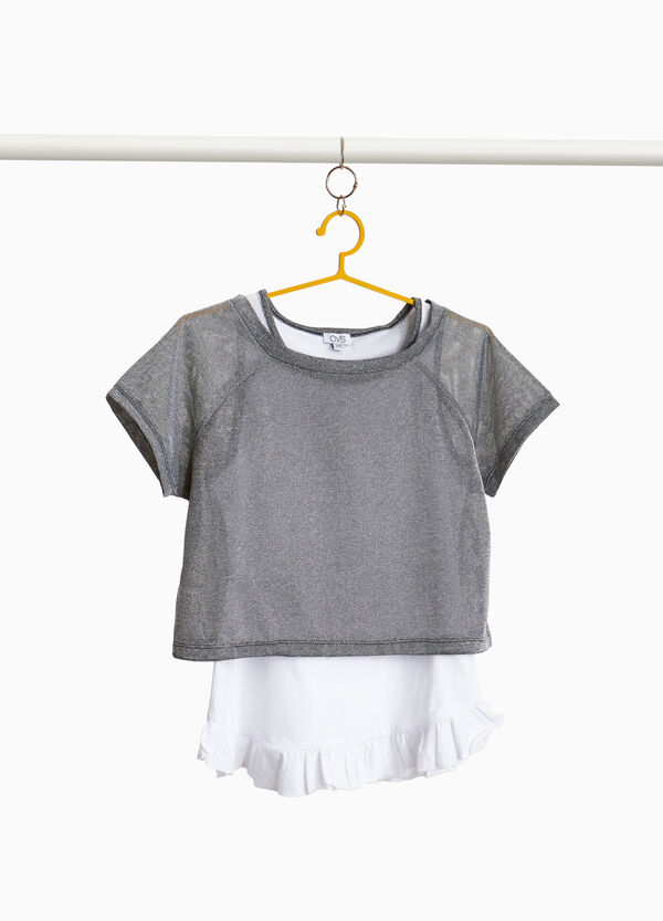 Completo top e t-shirt crop con lurex