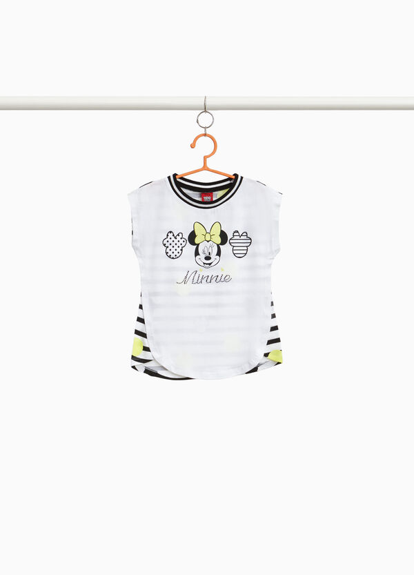 Minnie Mouse T-shirt with stripes in stretch cotton