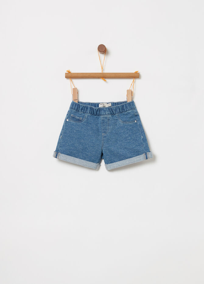 Mélange denim shorts with five pockets