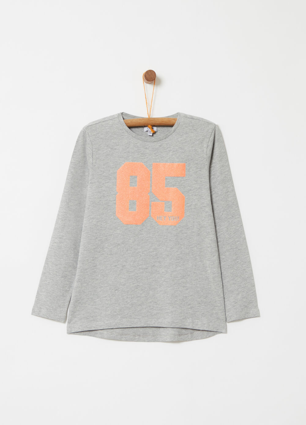 T-shirt with printed glitter lettering