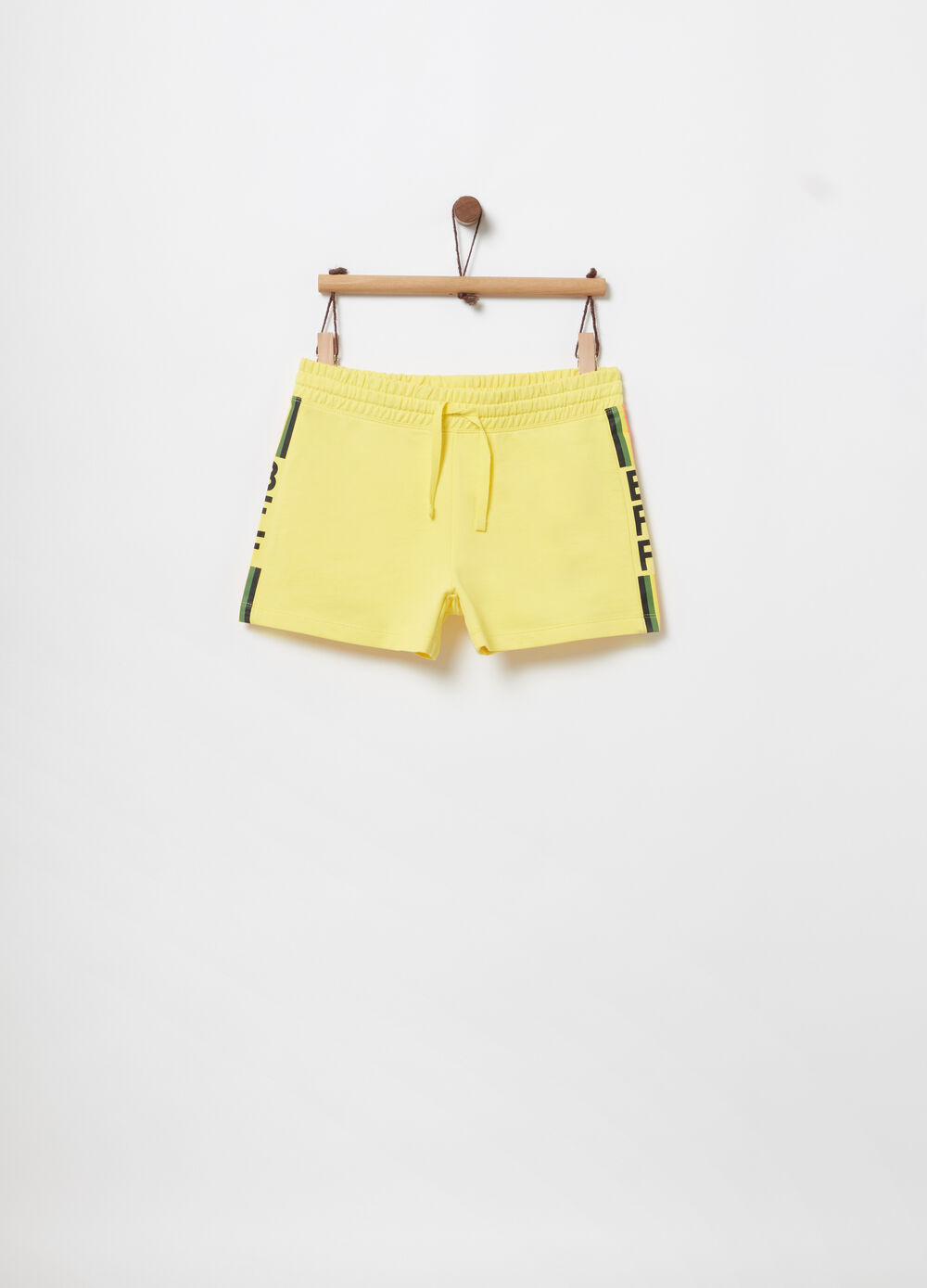 Shorts in French Terry con stampa rigata