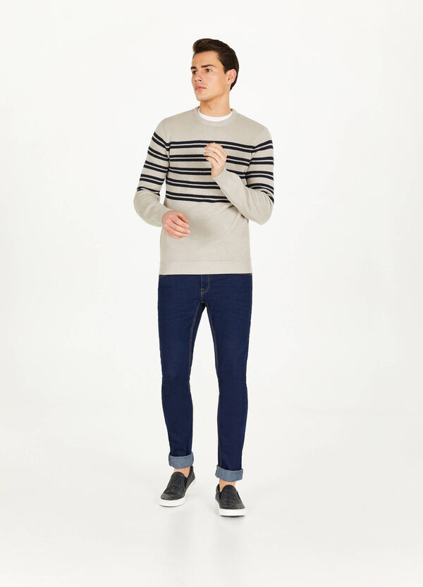 100% cotton piquet striped pullover