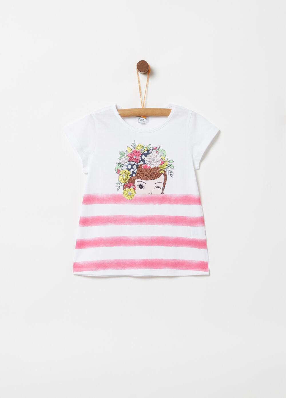 Round neck T-shirt with glitter print