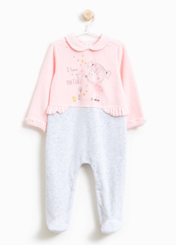 Two-tone sleepsuit with rounded collar