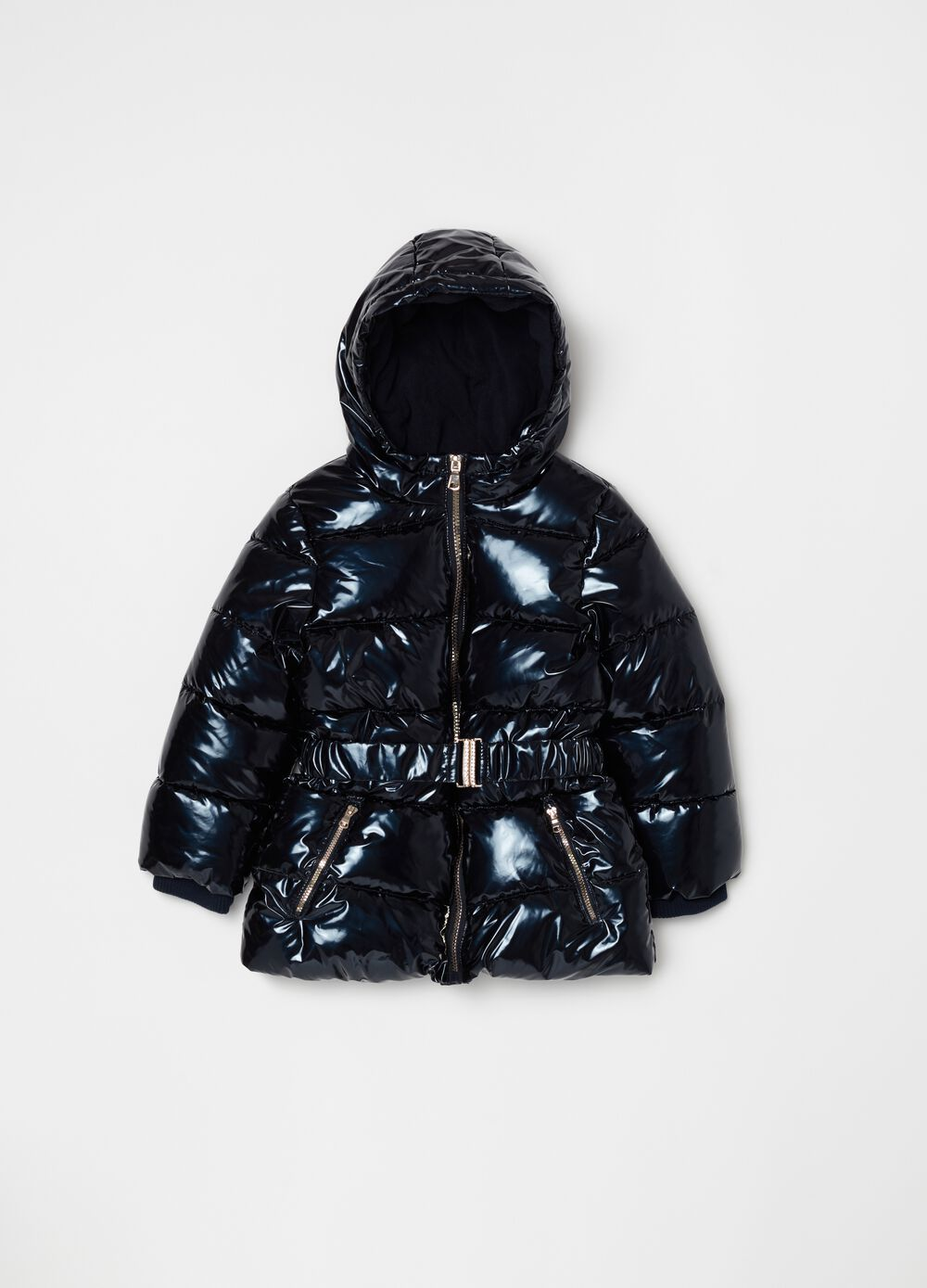 Glossy-effect jacket with hood and zip