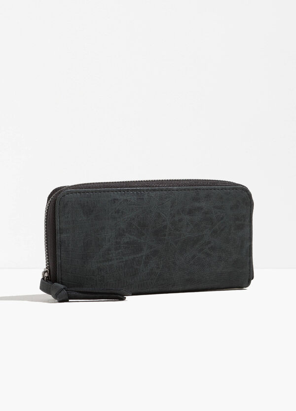 Textured-effect wallet with zip | OVS