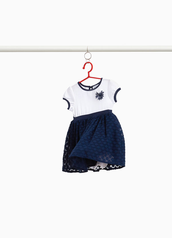 Dress with tulle skirt and polka dot weave