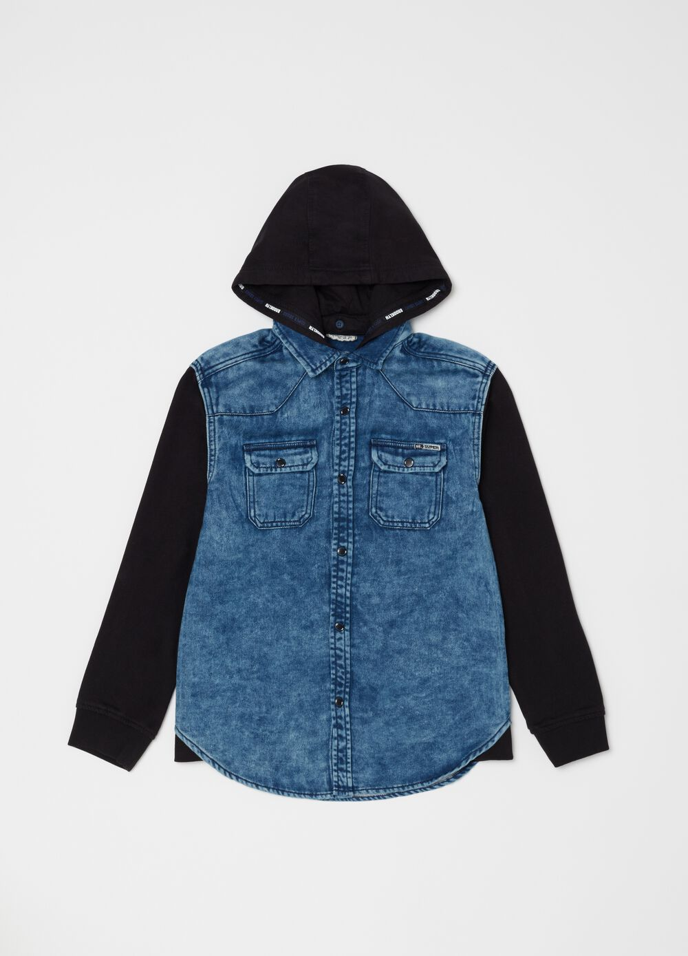 Denim shirt with fleece hood