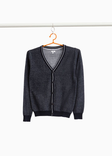 Cardigan in 100% cotton with striped ribbing