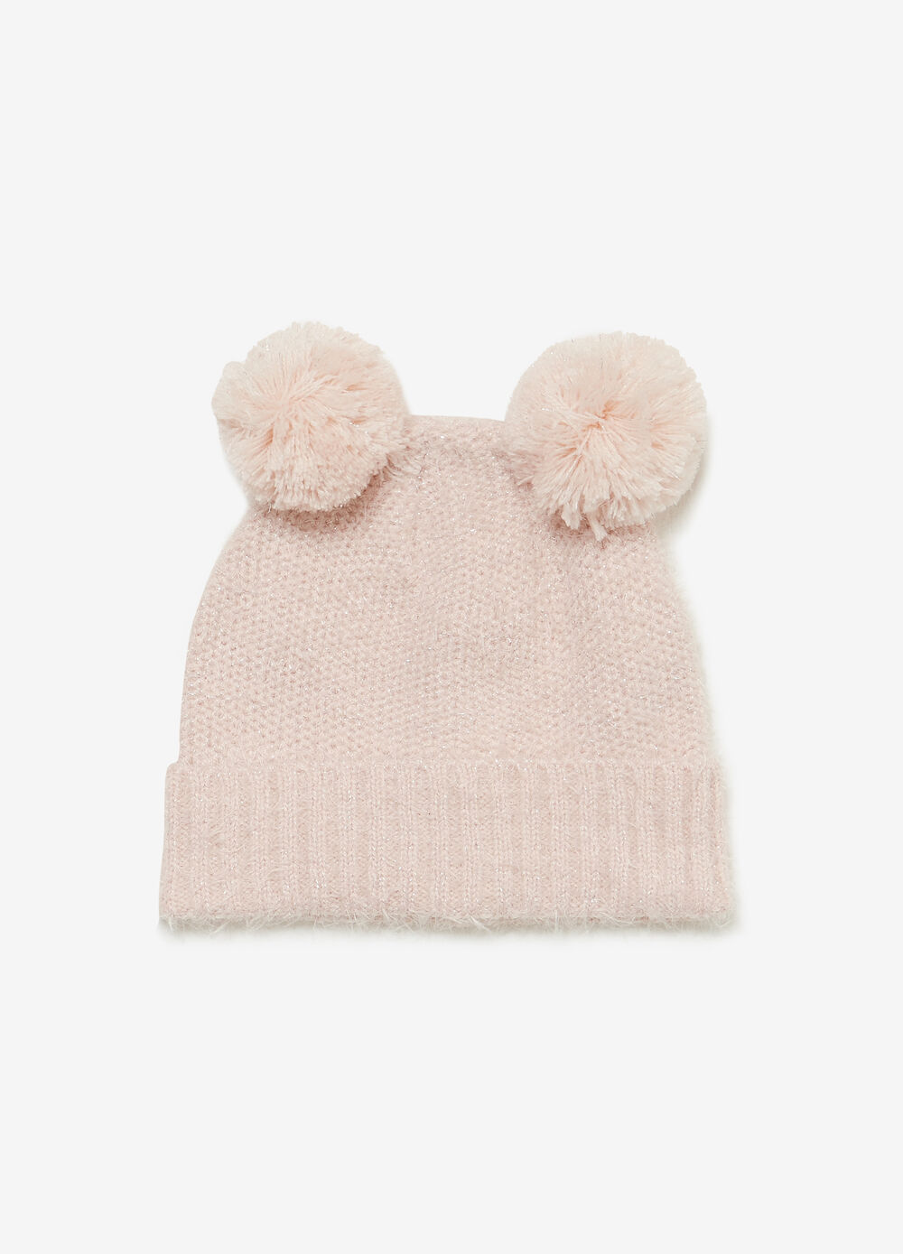 Beanie cap with pompoms and ribbing