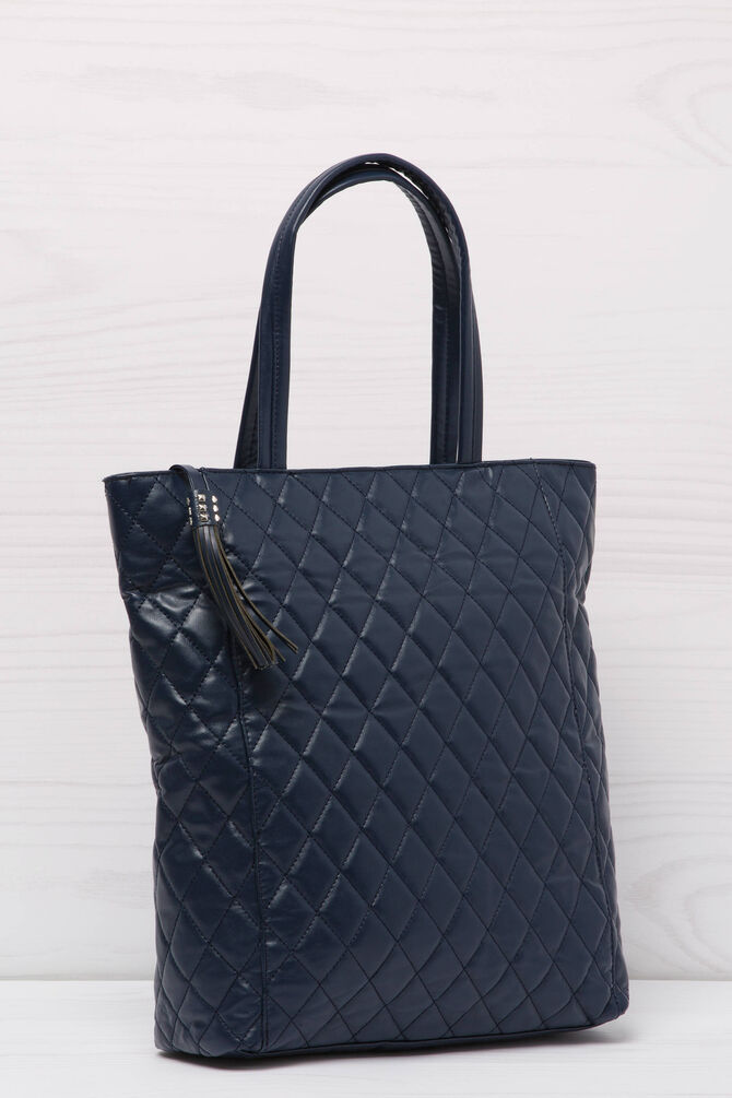 Solid colour leather look shopping bag
