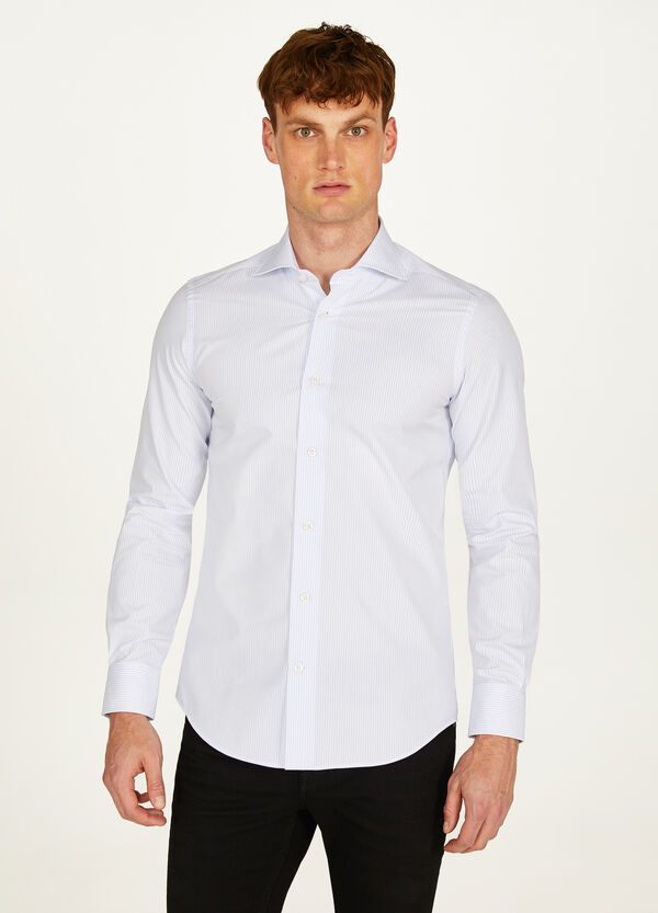 Slim-fit formal French check shirt