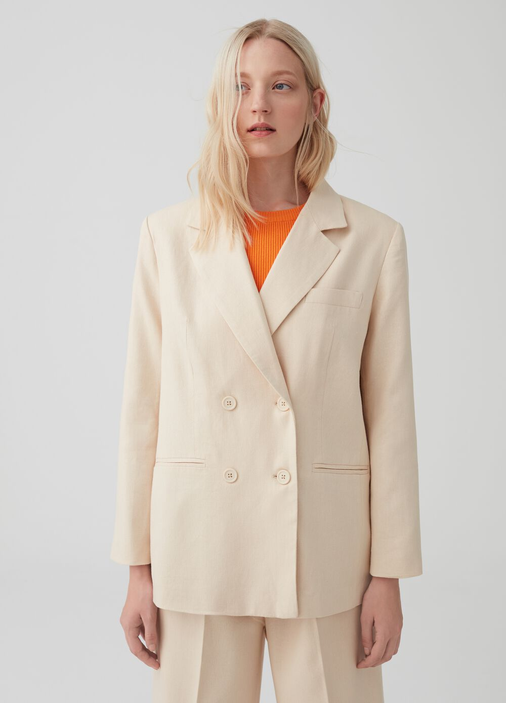 Double-breasted oversized blazer with split