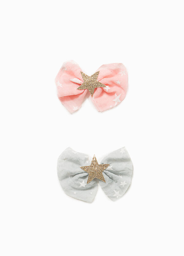 Set of two hair clips with star bow