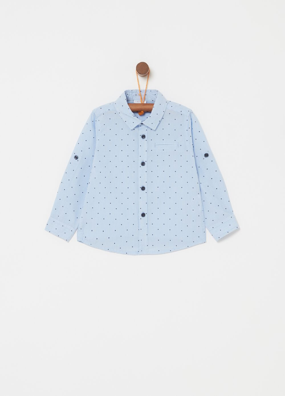 Micro check and striped shirt in 100% cotton