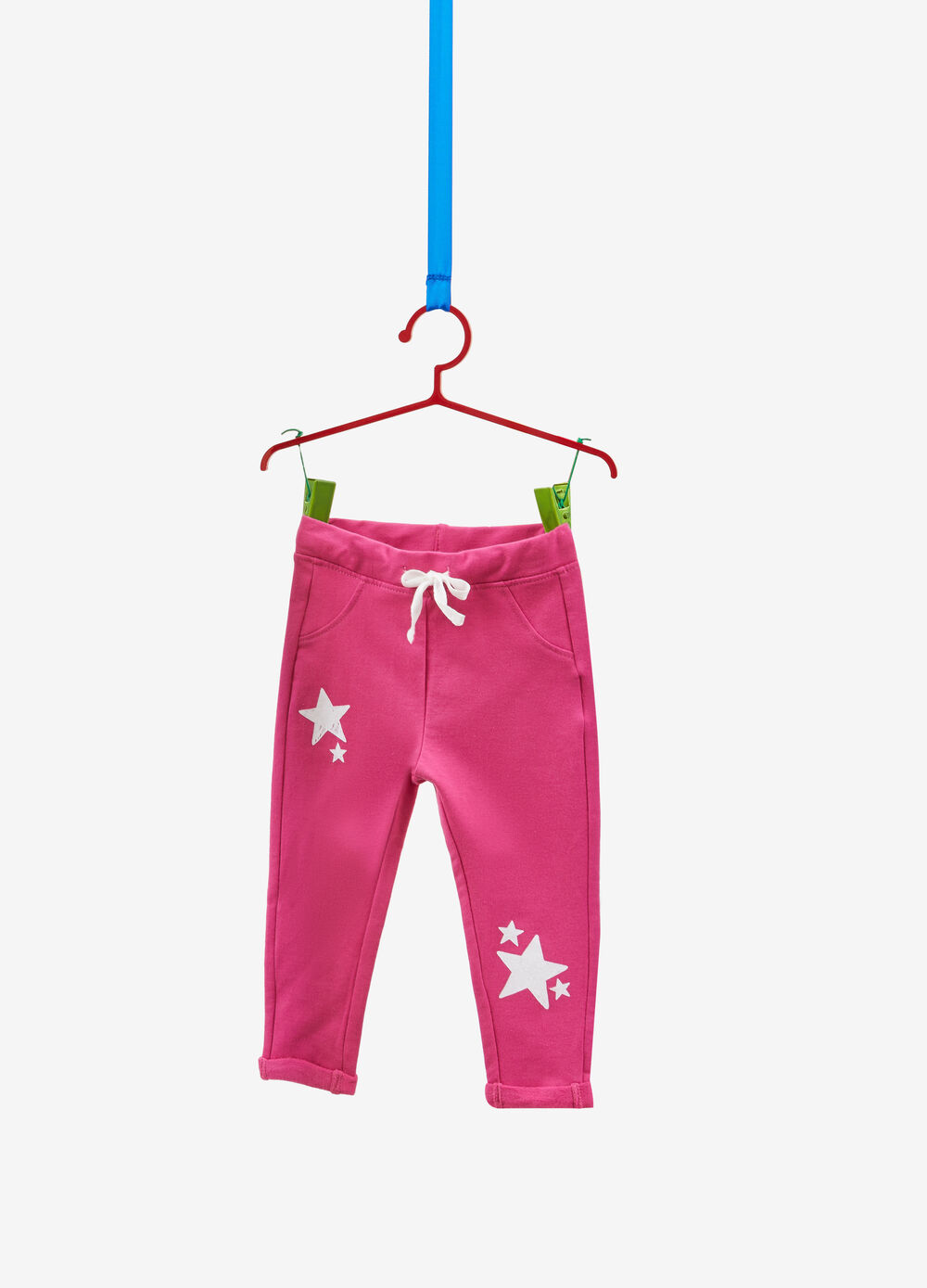 Stretch cotton trousers with glitter stars