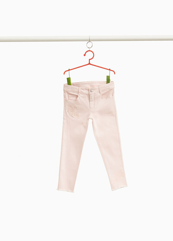 Stretch cotton trousers with embroidery