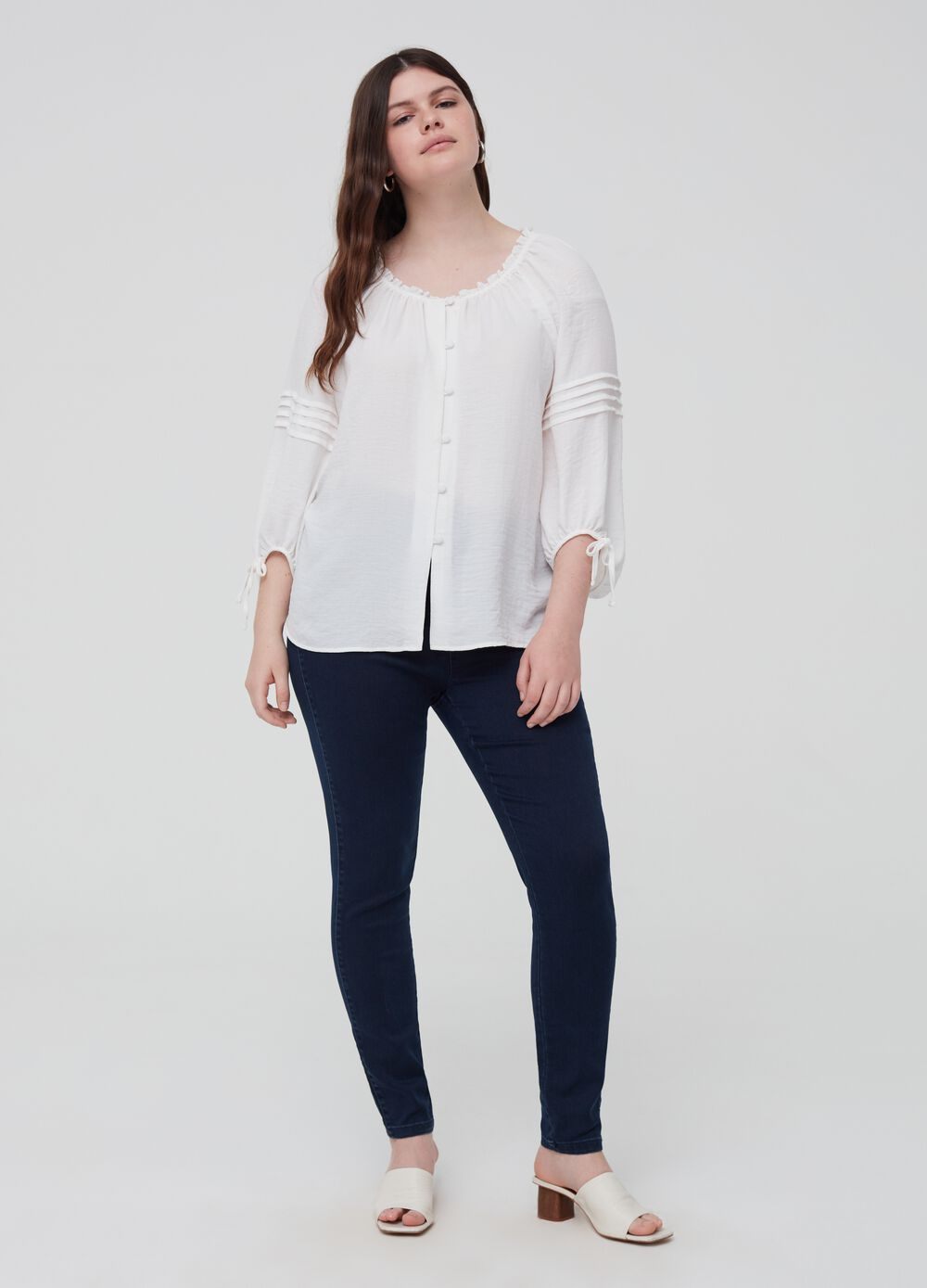 Curvy solid colour stretch jeggings