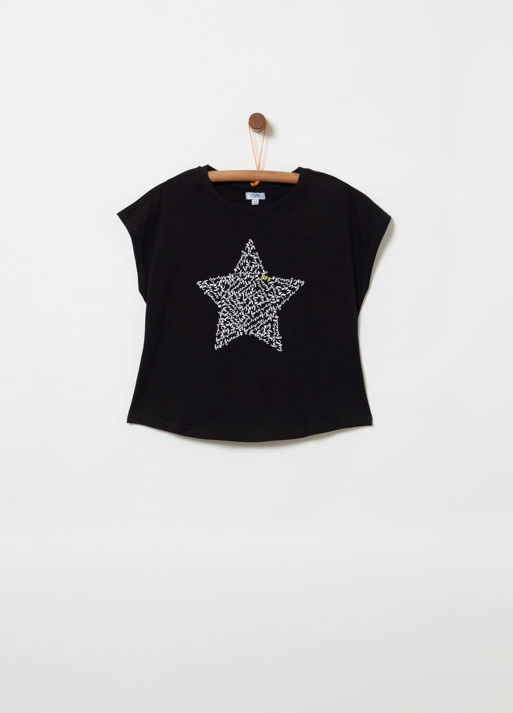 Boxy T-shirt with cap sleeves and print