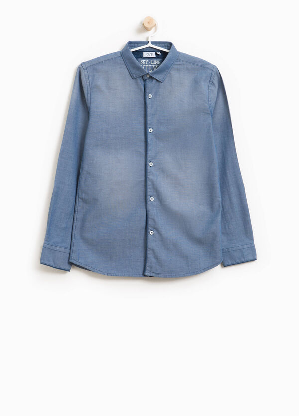 Washed-effect shirt with fading | OVS
