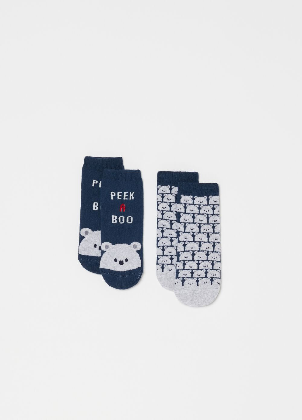 Two-pair pack slipper socks with teddy bear