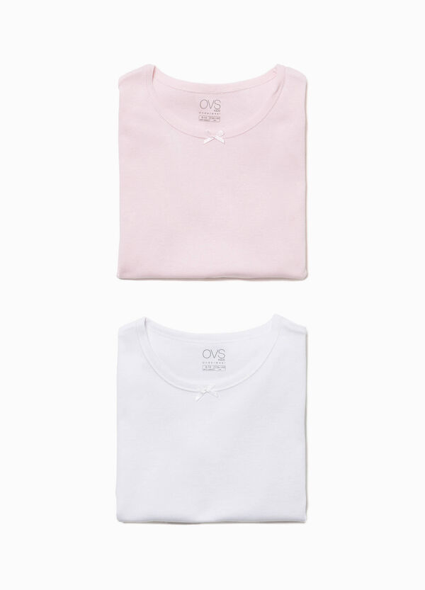 Two-pack cotton under shirts with bow