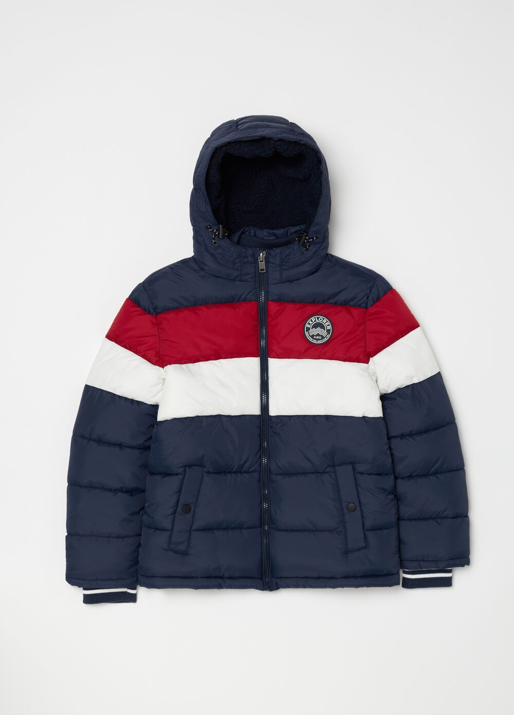 Colour-block padded and quilted bomber jacket