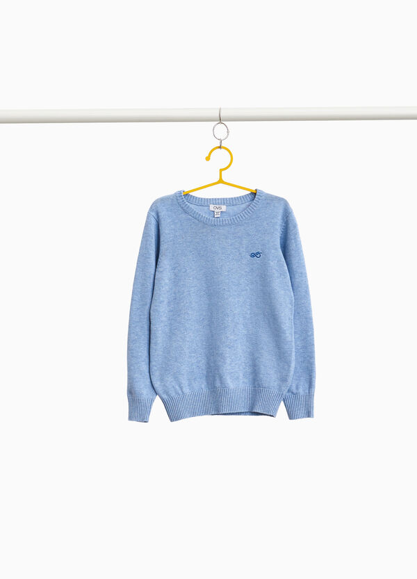 Ribbed pullover in 100% cotton