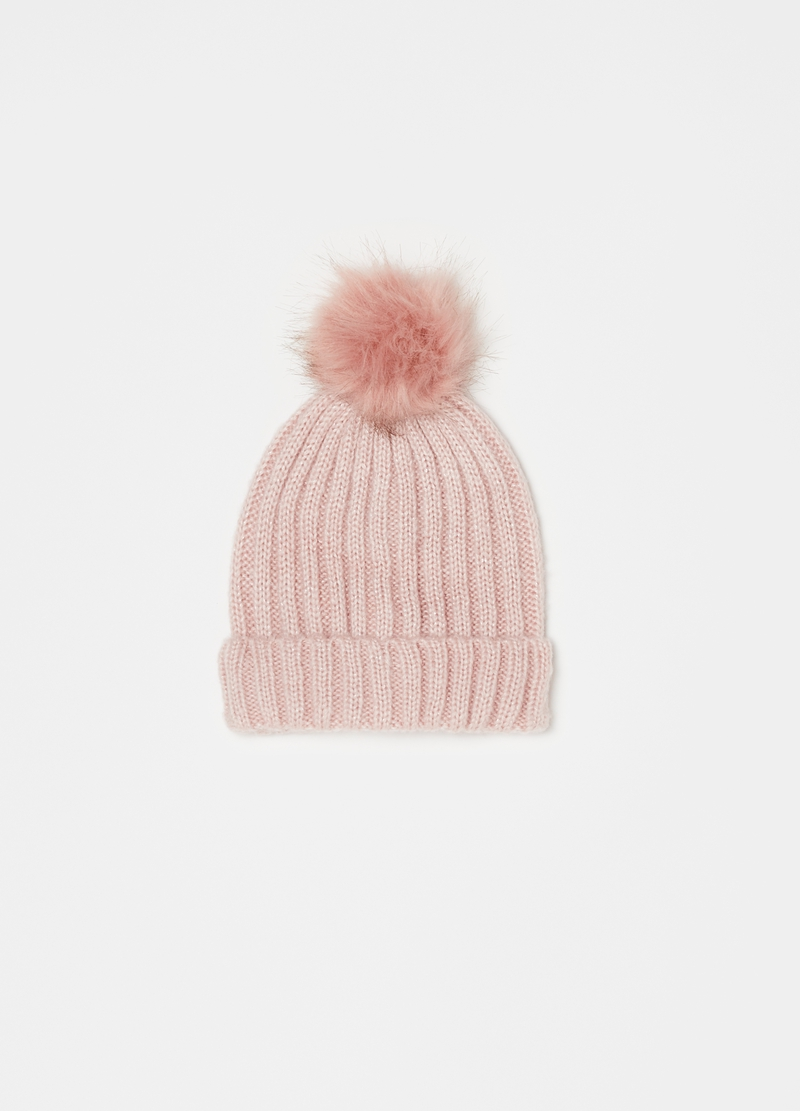 Hat with lurex and pompoms image number null