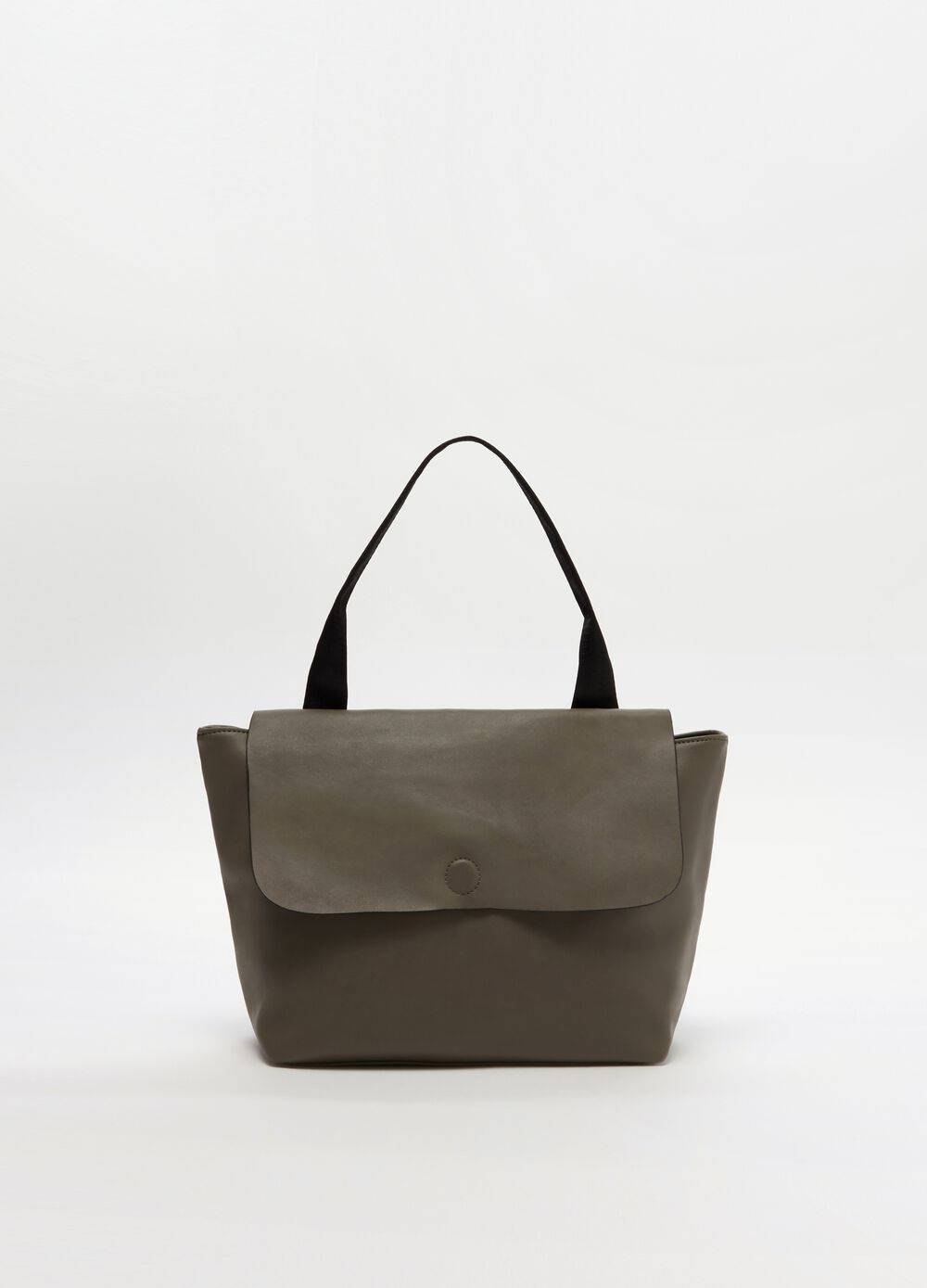 Soft shoulder bag with zip and flap