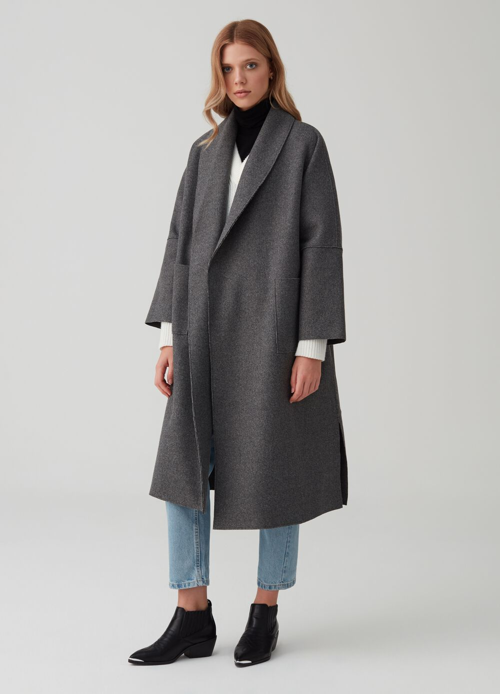 Boiled wool effect coat with shawl neck