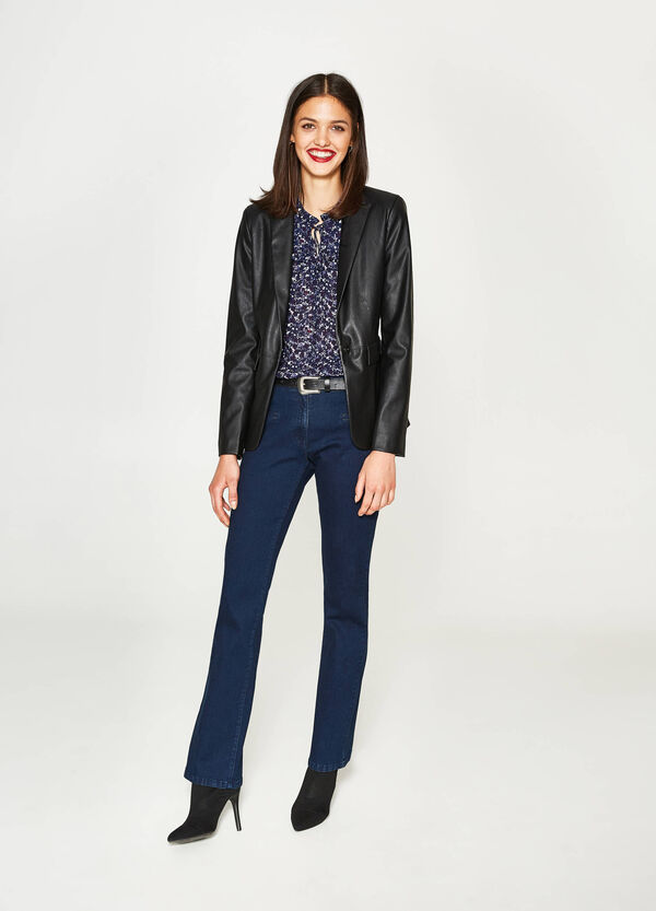 Leather-look blazer with lapels