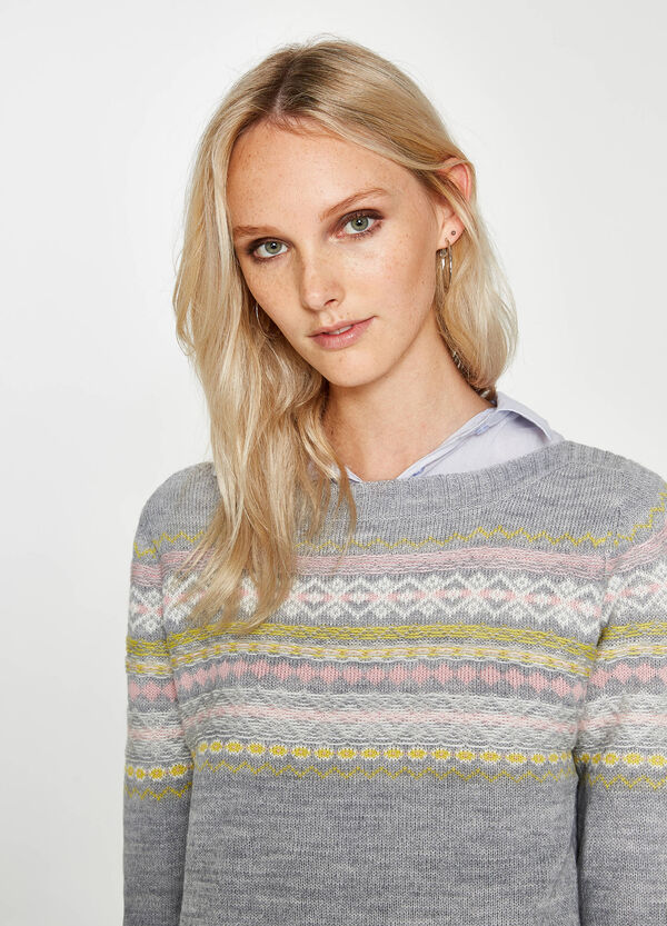 Wool blend pullover with embroidery | OVS