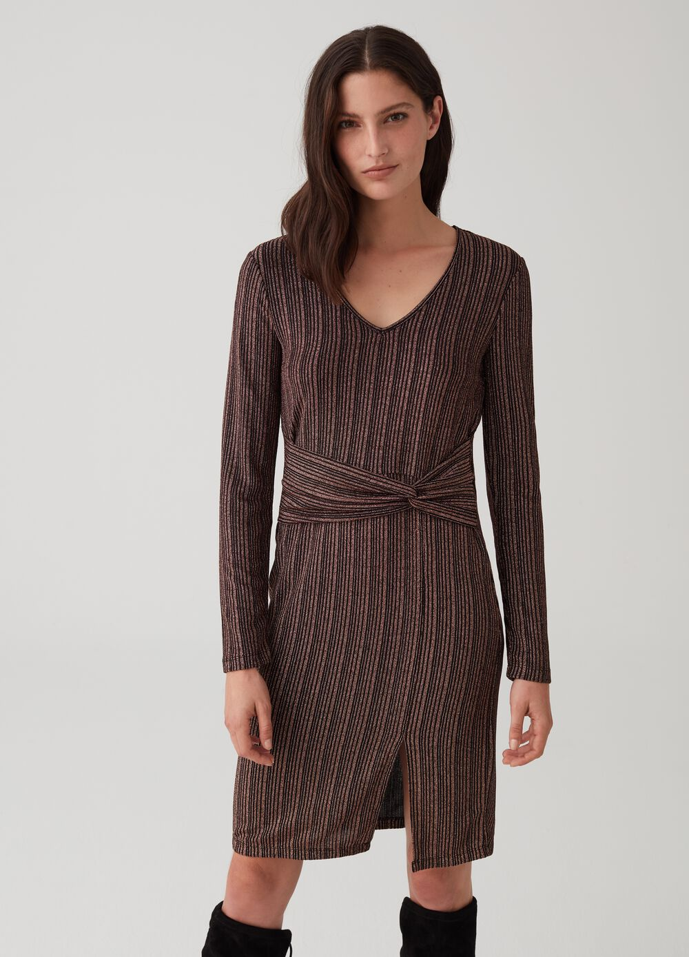 Stretch dress with long lurex sleeves