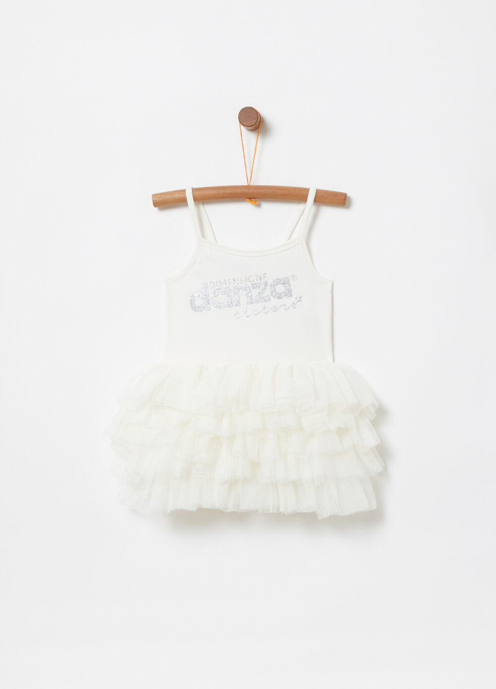 Sleeveless tutu with tulle and glitter print