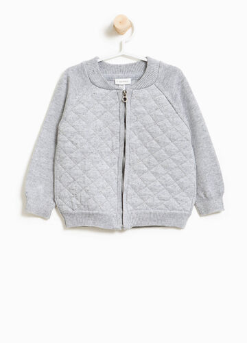 Cotton sweatshirt with zip and quilted weave