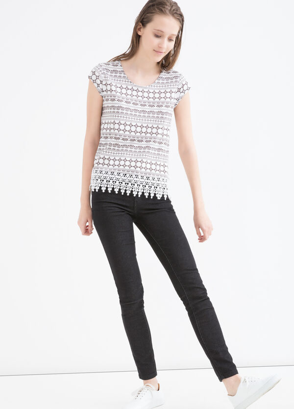 Patterned T-shirt in modal cotton