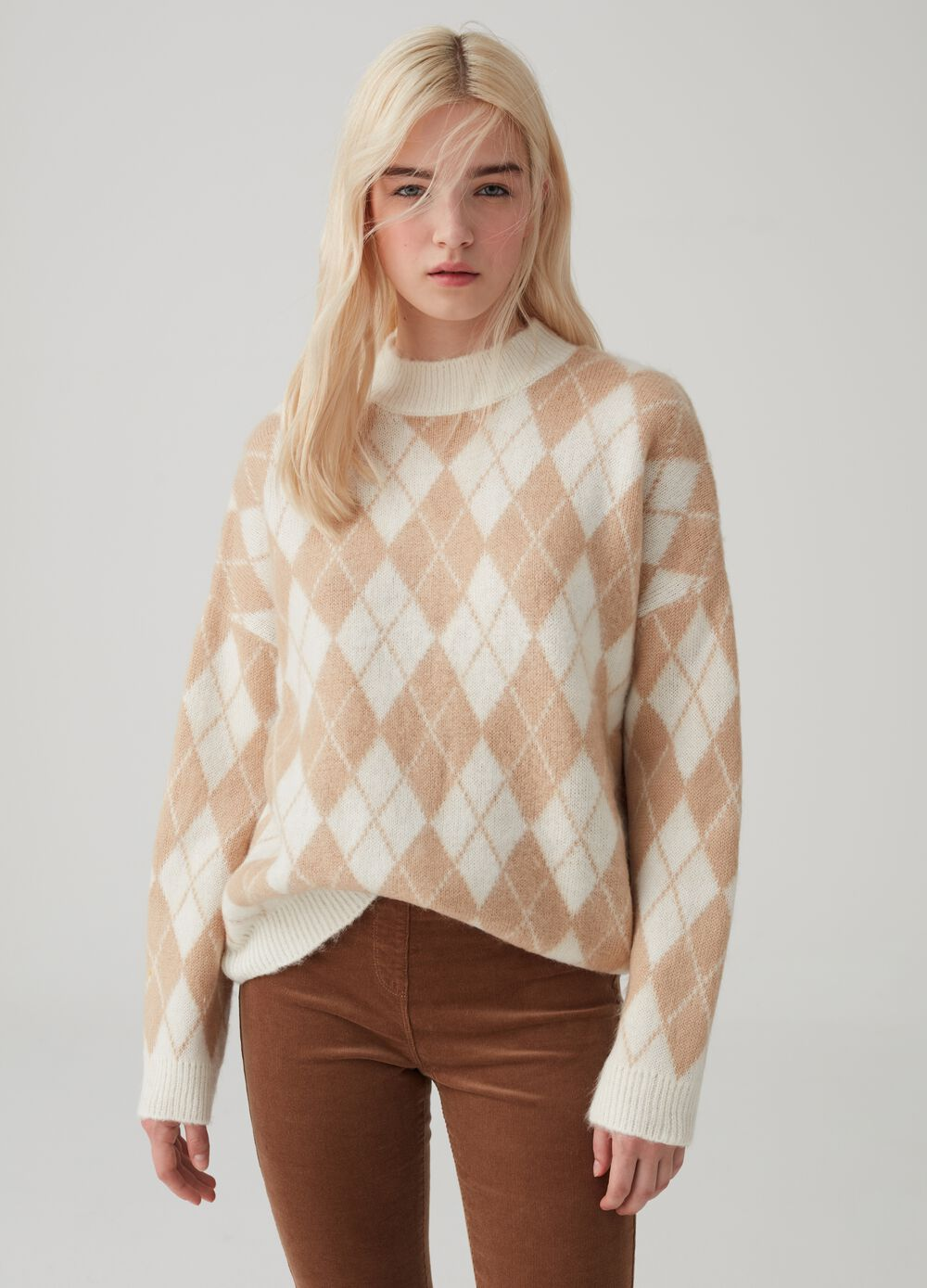 Pullover with diamond-effect drop shoulder
