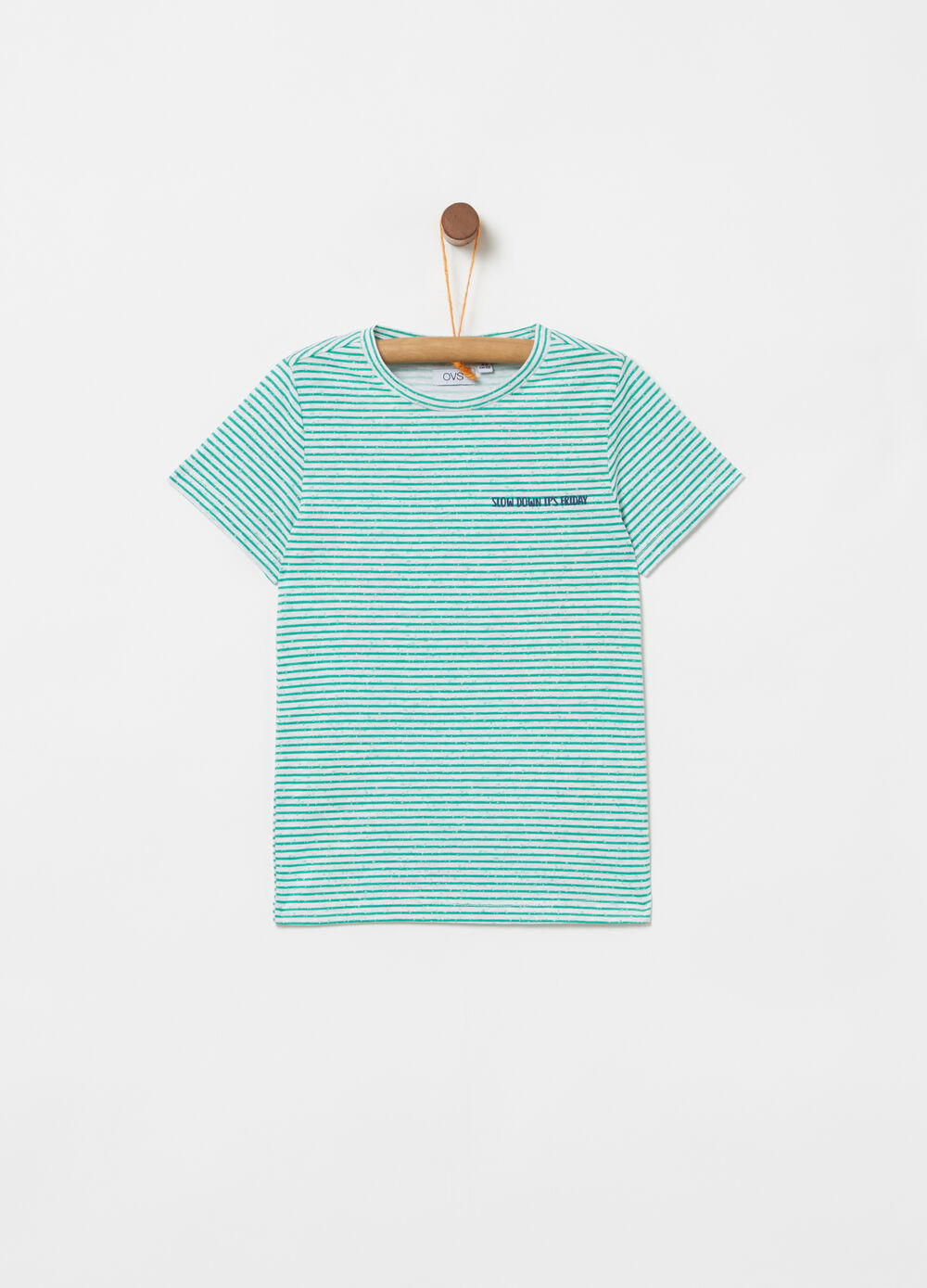 T-shirt with printed lettering, stripes and patches